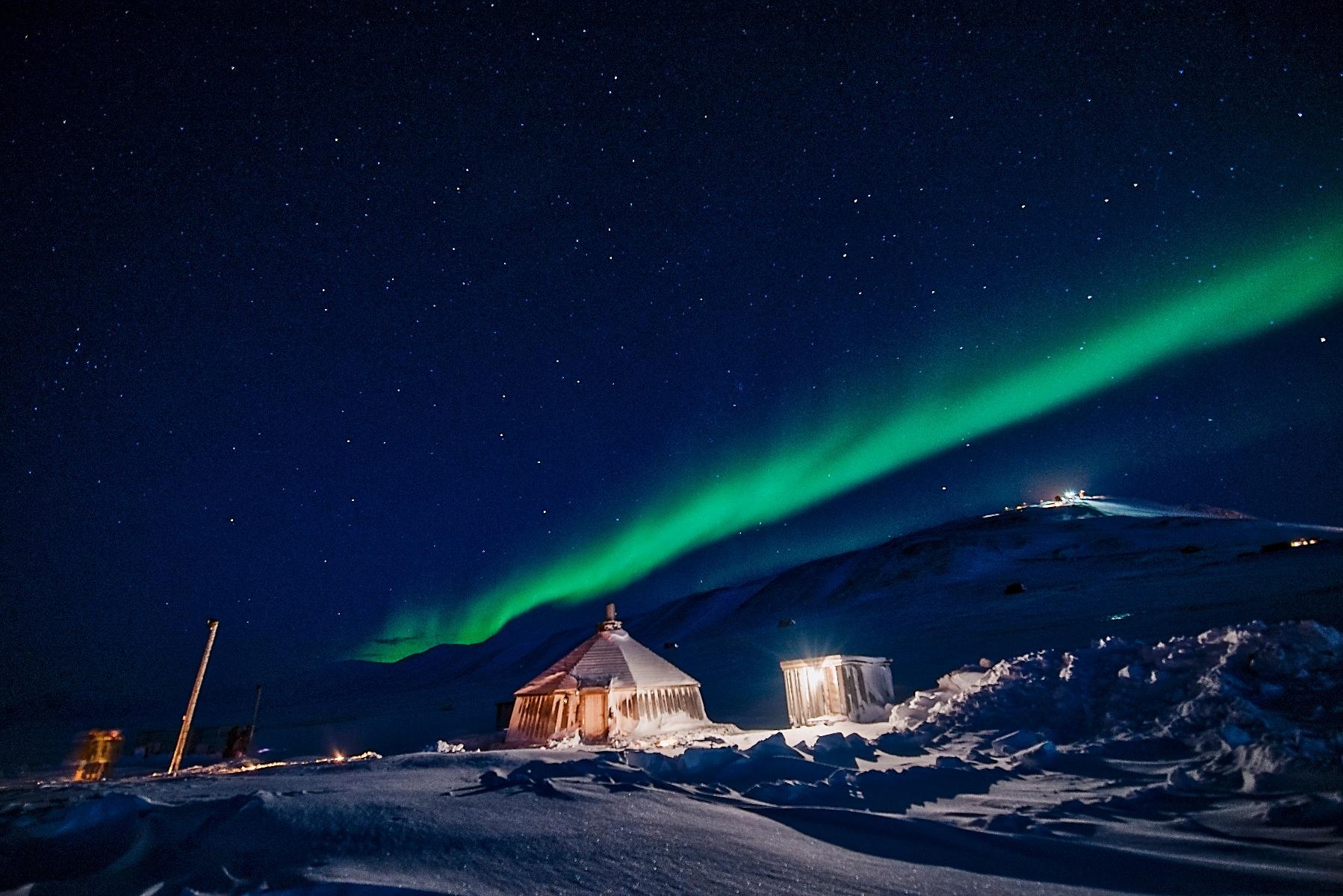 Nordlys på himlen