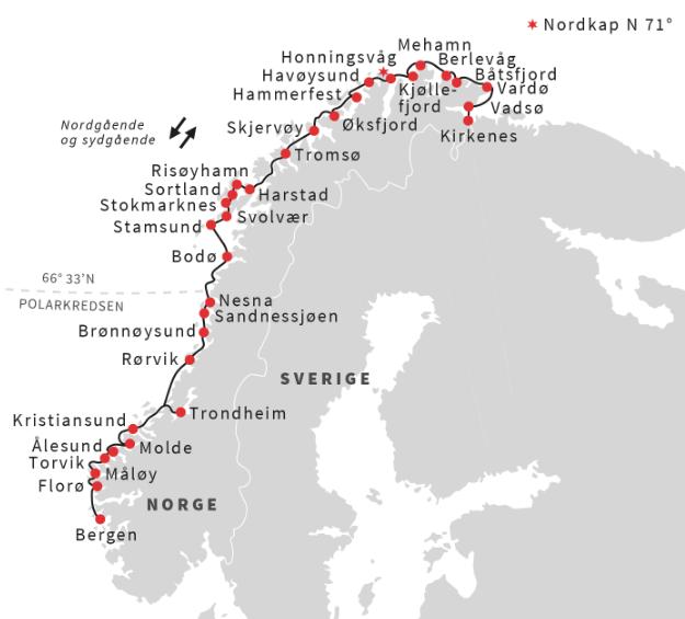 Bergen til Kirkenes med Hurtigruten 7 dage