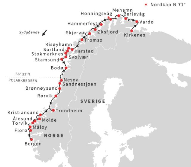 Kort for strækningen fra Kirkenes til Bergen