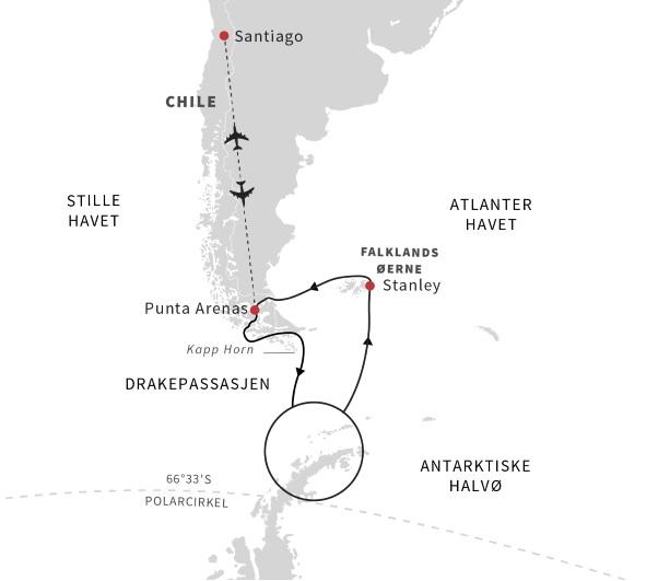 Fra Chile til antarktis og Falklandsøerne med Hurtigruten - Travelnorth - en del af Ruby Rejser