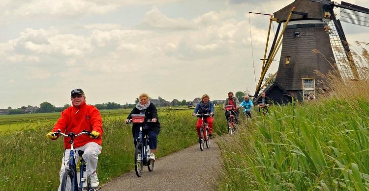 Cyklister på vejen i Holland