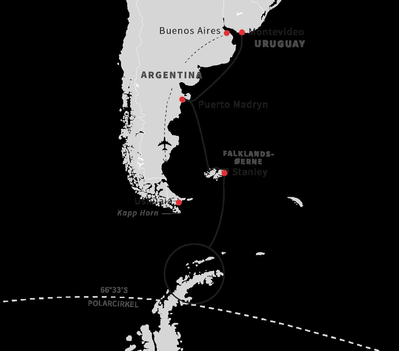 Kort over rejsen til Antarktis og den sydlige halvkugle