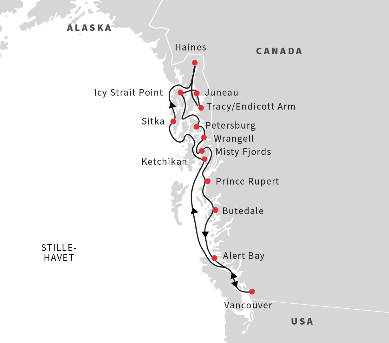 Sejlads med Hurtigruten Alaska og British Columbia