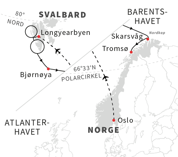 Polarpionerenes rute fra Svalbard til Norge - Hurtigruten - Travelnorth - en del af Ruby Rejser